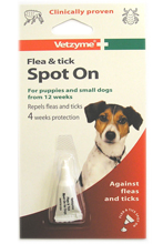 VETZYME FLEA AND TICK SPOT ON FOR SMALL DOGS - 4 WEEK