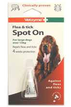 VETZYME FLEA AND TICK SPOT ON FOR LARGE DOGS - 4 WEEK