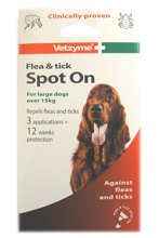 VETZYME FLEA AND TICK SPOT ON FOR LARGE DOGS - 12 WEEK