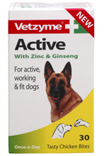 VETZYME ACTIVE TABLETS WITH ZINC & GINSENG FOR DOGS - 30