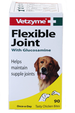 VETZYME FLEXIBLE JOINT WITH GLUCOSAMINE TABLETS FOR DOGS - 90